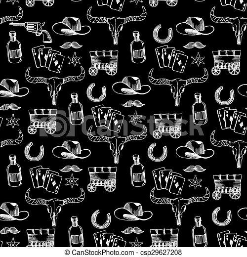 Seamless pattern background western cowboy. - csp29627208
