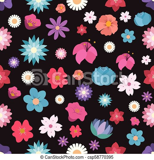 Seamless pattern background with colorful flowers - csp58770395