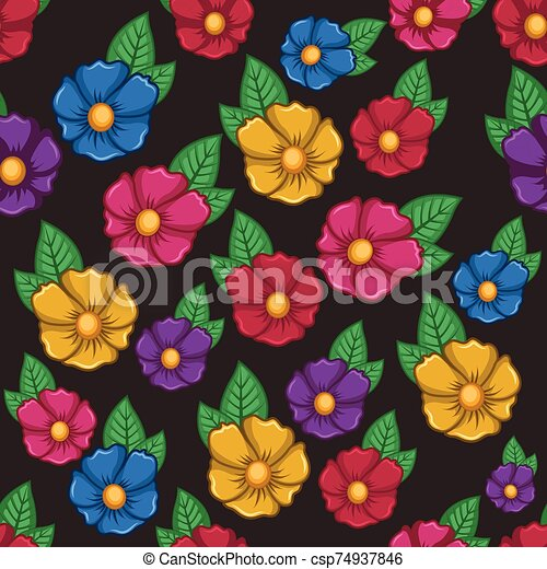 Seamless pattern background with colorful flowers - csp74937846