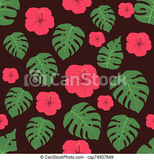 Seamless pattern background with tropical flowers - csp74937849
