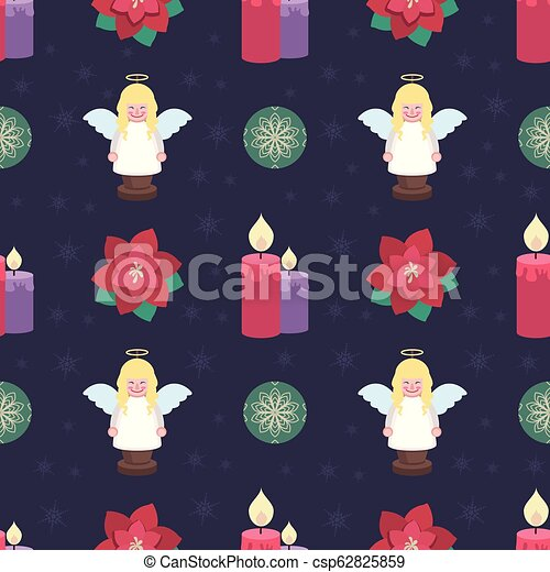 Seamless pattern background with lovely Christmas elements - csp62825859