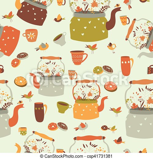 Seamless pattern background with tea related symbols - csp41731381
