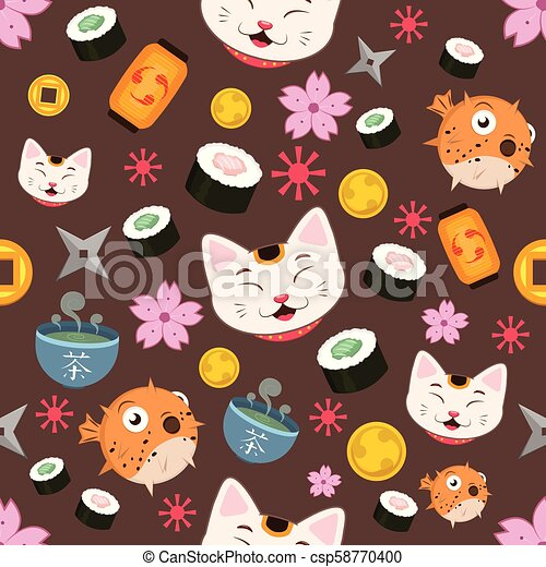 Seamless pattern background with Japanese elements - csp58770400