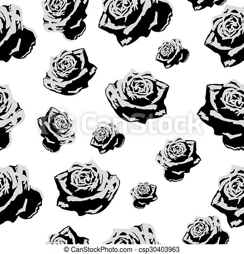 Seamless pattern black white flowers roses - csp30403963