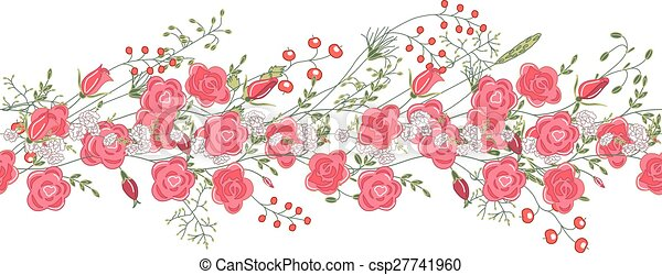 Seamless pattern brush with roses and herbs. - csp27741960
