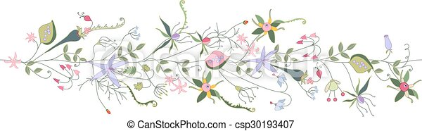 Seamless pattern brush with stylized summer flowers.  - csp30193407