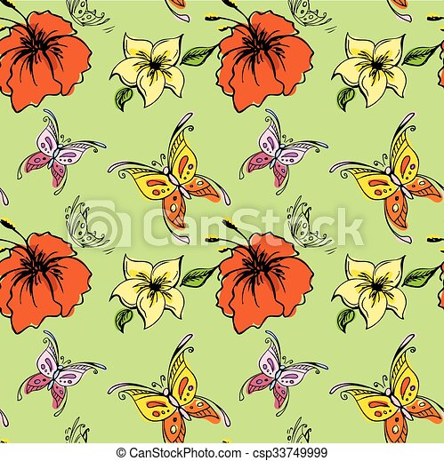 Seamless Pattern Butterfly And Flowers
