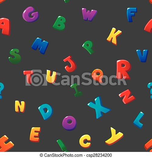 seamless pattern cartoon kids alphabet bubble letters on black background csp28234200