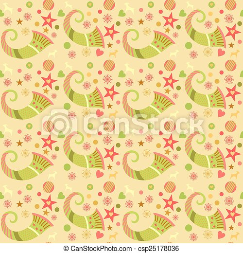 Seamless pattern christmas, wrapping paper for gifts. Edited. Cornucopia, Christmas ornaments - csp25178036