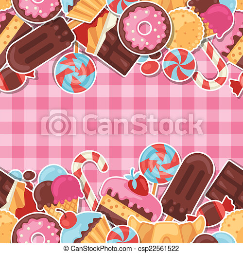 Seamless pattern colorful sticker candy, sweets and cakes. - csp22561522