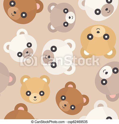 Seamless Pattern Cute Teddy Bear Head For Use As Wallpaper Or Christmas Wrapping Paper Gift