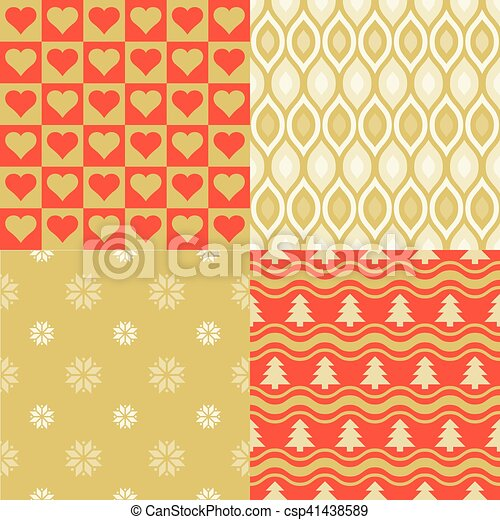Seamless Pattern Elegant Wallpaper Of Christmas In Golden And Red Theme Tree Snow