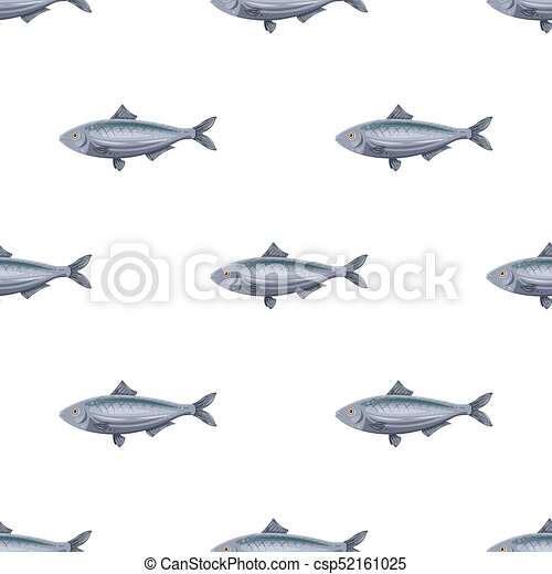 Seamless pattern flat herring fish isolated on white background. Marine fresh food - csp52161025