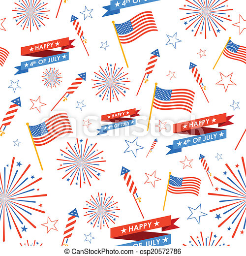 Seamless Pattern for 4th of July - csp20572786