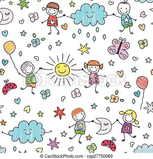 seamless pattern for kids - csp27750069
