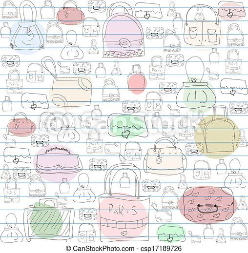 Seamless pattern for ladies handbags. - csp17189726