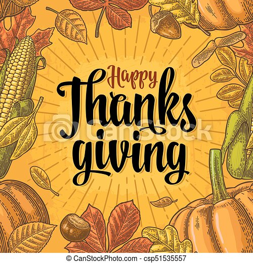 Seamless Pattern For Thanksgiving Day Vintage Engraving Seamless Pattern With Happy Thanksgiving Calligraphy Lettering And
