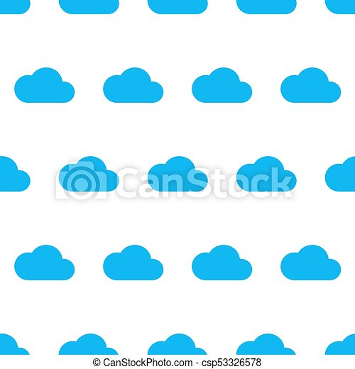 Seamless pattern from blue cloud on white background of vector illustrations - csp53326578