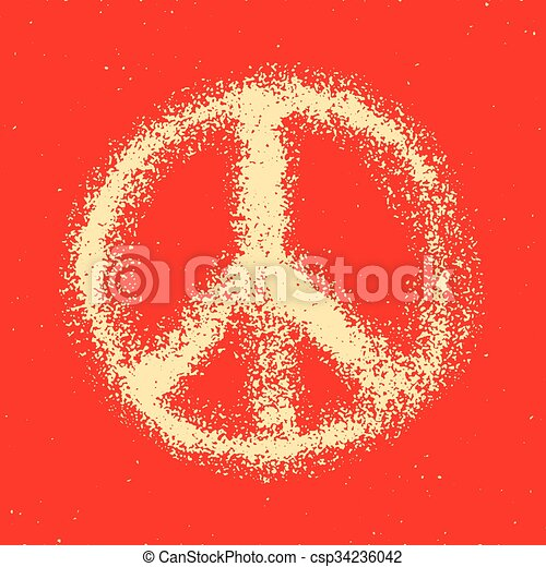 Seamless pattern from Peace sign. - csp34236042