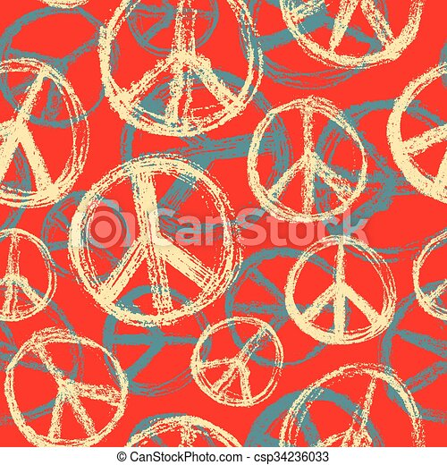 Seamless pattern from Peace sign. - csp34236033