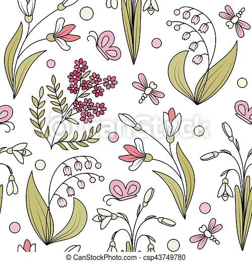 Seamless pattern from spring flowers seamless pattern from hand seamless pattern from spring flowers csp43749780 mightylinksfo