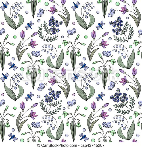 Seamless pattern from spring flowers seamless pattern from hand seamless pattern from spring flowers csp43745207 mightylinksfo