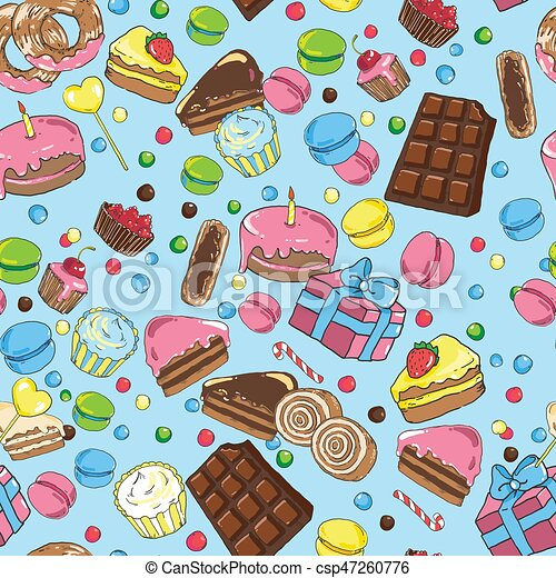 Seamless pattern from various sweets on blue background - csp47260776