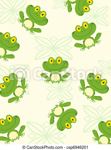 Seamless Pattern Happy Frog  - csp6946201