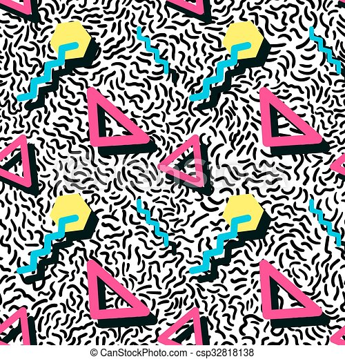 Seamless pattern in memphis style - csp32818138