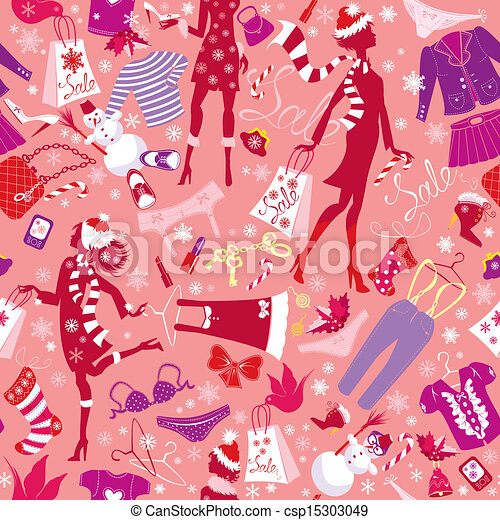 Seamless pattern in pink colors - Silhouettes of fashionable girls with colorful glamor clothes and accessories in Christmas Sale time - csp15303049