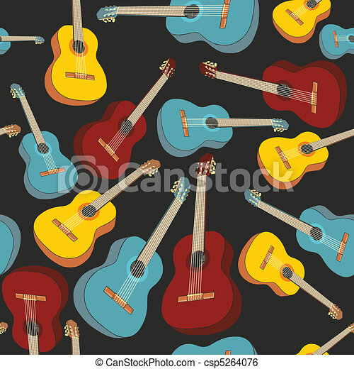 seamless pattern isolated guitars - csp5264076