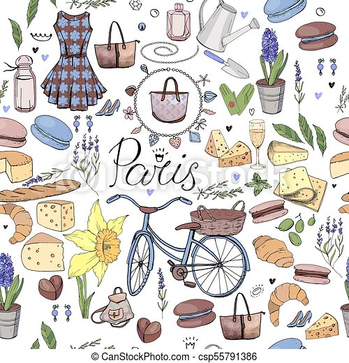 Seamless Pattern Made Of Different Symbols Related To France