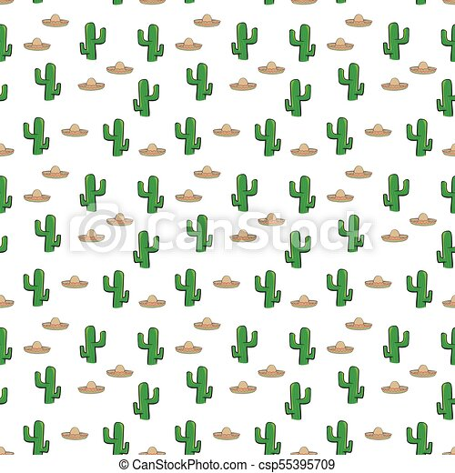 Seamless Pattern Mexican Sombrero Hat And Cactus On White Background  Wallpaper Textile Vector 2744b61a742