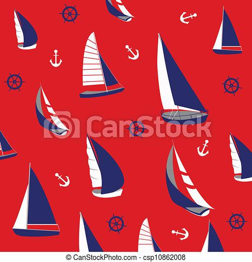 Seamless pattern, nautical elements - csp10862008