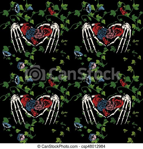 Seamless pattern of a skeleton hands making heart - csp48012984