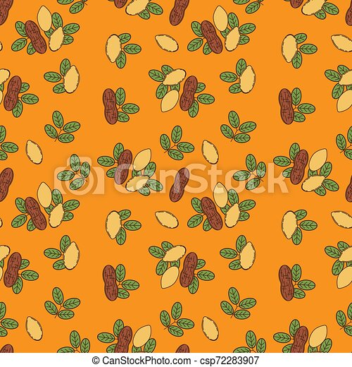 Seamless pattern of almond in cartoon style - csp72283907