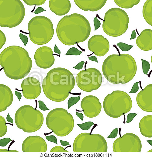 Seamless pattern of apples, vector illustration. - csp18061114