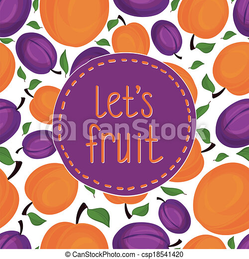 Seamless pattern of apricots, vector illustration. - csp18541420
