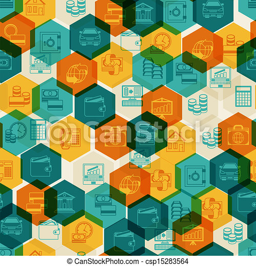 Seamless pattern of banking icons. - csp15283564