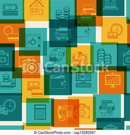 Seamless pattern of banking icons. - csp15283567