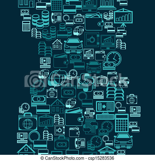Seamless pattern of banking icons. - csp15283536
