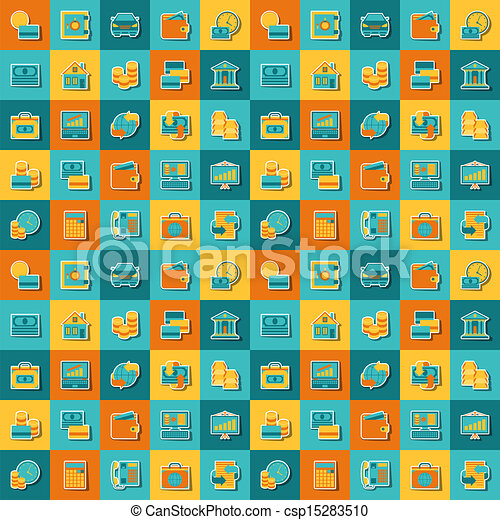 Seamless pattern of banking icons. - csp15283510
