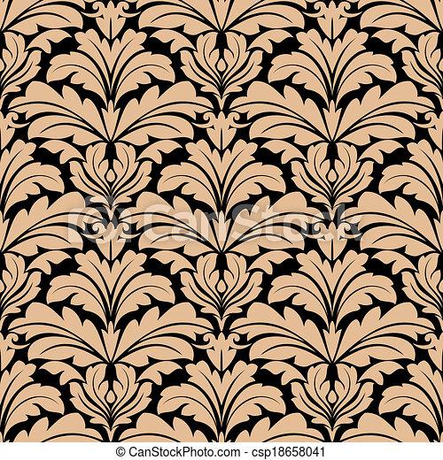 Seamless pattern of beige floral arabesque motifs - csp18658041
