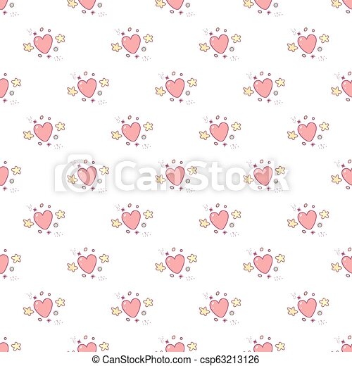 Seamless pattern of cartoon colorful hearts, stars and particles - csp63213126