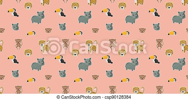 Seamless pattern of cartoon cute leopards, rainbow toucans, spider monkeys, and their faces with white outlines like stickers on a pink background. Digital paper. Vector. - csp90128384