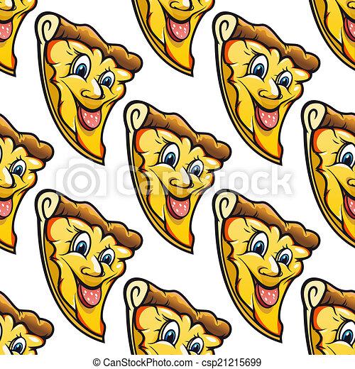 seamless pattern of cheesy salami cartoon pizza slice yellow rh canstockphoto com Extra Cheesy Pizza cartoon cheese pizza