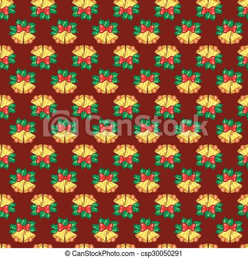 Seamless pattern of Christmas bells with green leaves on red bac - csp30050291