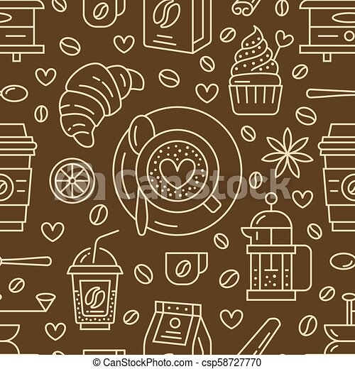 Seamless pattern of coffee, vector background. Cute beverages, hot drinks flat line icons - french press, beans, cup, grinder. Repeated texture for cafe menu, shop wrapping paper - csp58727770