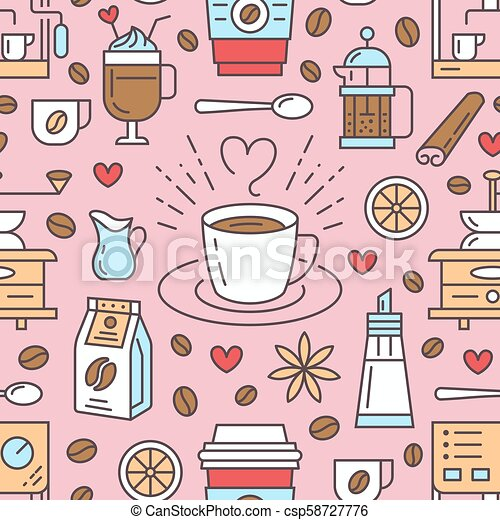 Seamless pattern of coffee, vector background. Cute beverages, hot drinks flat line icons - coffeemaker machine, beans, cup, grinder. Repeated texture for cafe menu, shop wrapping paper - csp58727776