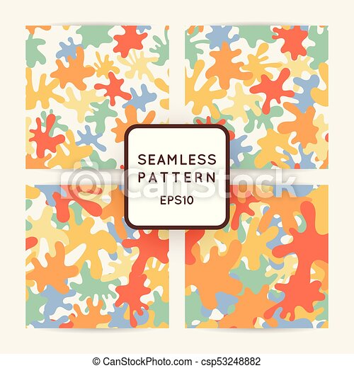 Seamless pattern of colored smooth blots and spots. - csp53248882